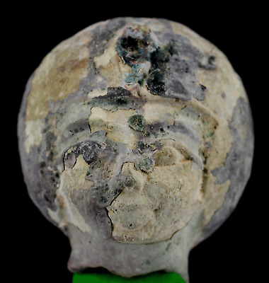 Ancient Egyptian Pottery Head. - c. 2,17 inches - ca. 5,5 cm