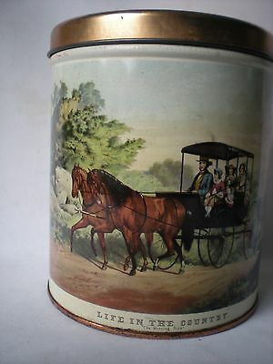 Vintage Currier & Ives Life in the Country Morning Ride Tin Canister Decoware