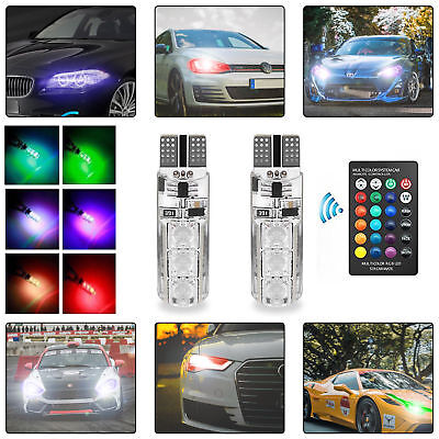 2X LED T10 Remote Control W5W 501 RGB Color Changing Car Wedge Side Light Bulbs