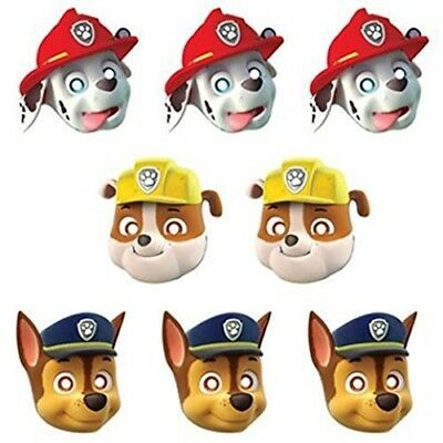 PAW PATROL MASCHERE Baby 8 Pz STOCK FESTA PARTY COMPLEANNO
