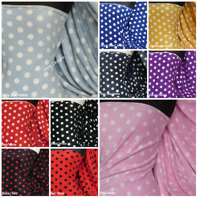 Polar Fleece Anti Pill Fabric Premium Quality Soft Material Polka Dots Print