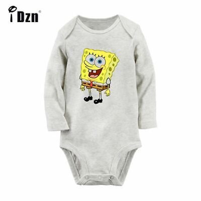 3179f647c CUTE CARTOON SPONGEBOB Newborn Baby Bodysuit Long Sleeve Romper ...