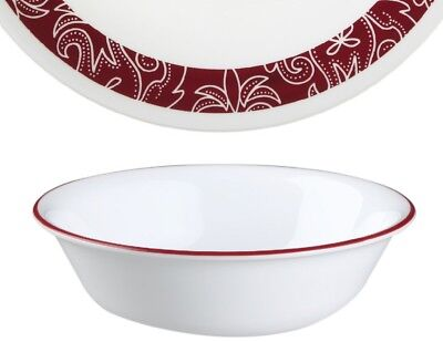 "1 NEW Corelle BANDHANI 18-oz SOUP CEREAL SALAD BOWL 6 1/4"" Dark Red Rim"