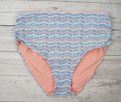 c83113cf34557 AERIE Swim High Rise Fold Over Convertible Blue Pink White Bikini Bottom  Size S