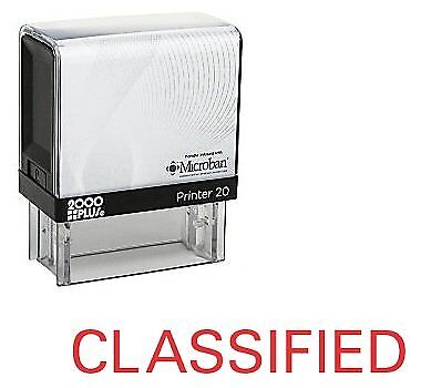 CLASSIFIED Office Self Inking Rubber Stamp - Red Ink (E-5461)