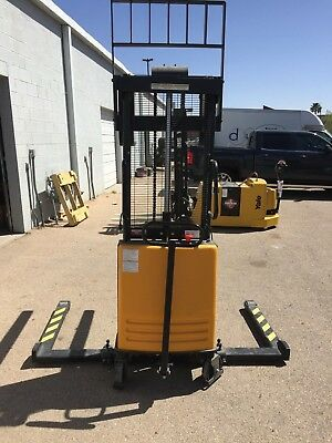 Vestil SL-63-AA Powered Lift Stacker with Adjustable Forks and Support Legs