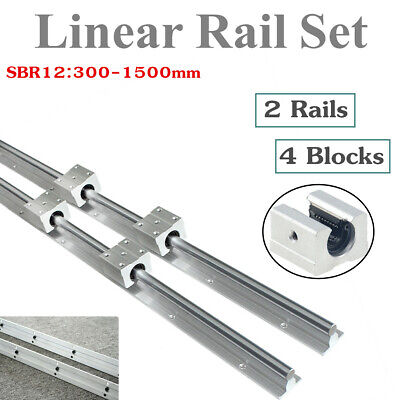 2X SBR12 300-1500mm Fully Supported Linear Rail Shaft Rod & 4X SBR12UU Block
