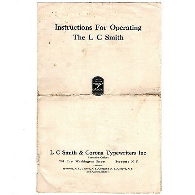 LC SMITH & BROS No.8 TYPEWRITER INSTRUCTION MANUAL Original User Vtg Antique