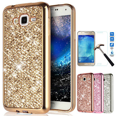 For Samsung Galaxy Bling Glitter Case Soft TPU Cover with Screen  Protector Film