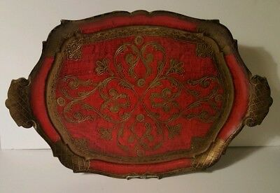 Vintage Florentine Italy Toleware Large Tray Handles Gold Red Great Patina
