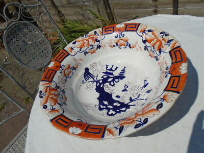 Large Antique Pottery Bowl George 111 Imari Style Hand Painted Early Spode 1815?