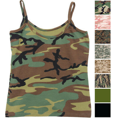 a20c37c92e4d4 Womens Camo Cami Military Tank Top Slim Fit Lounge Tee Stretch Camisole Army