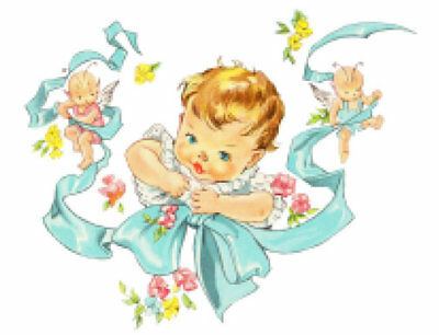 Vintage Image Retro Baby And Ribbon With Angels Nursery Waterslide Decals Bab615