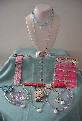 Hello Kitty Lot Of Mixed Items: Key Ring, Necklaces, Rings, & Watches  (GW1Z)
