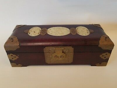 Vintage Wooden Oriental Jewelry Box Satin Lining with Brass and Jade Stone Inlay
