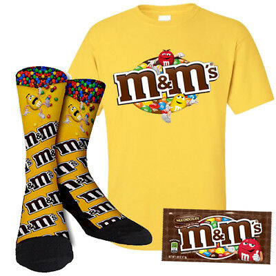 M&M's Candy Chocolate Gift Set Includes Pack Of Candy T Shirt and Matching Socks