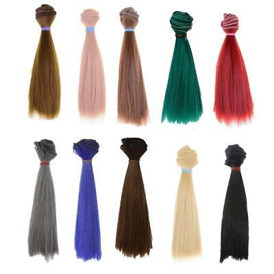 HOT 25x100cm DIY Wig Straight Hair for BJD SD Doll 10 Color.US