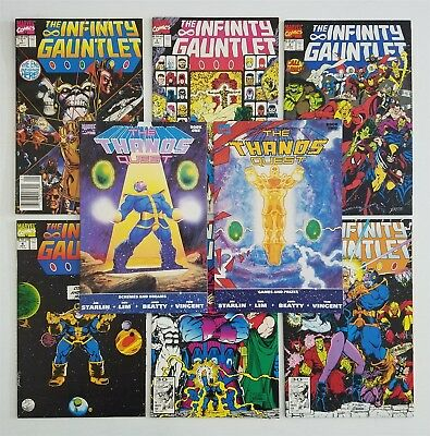 Thanos Quest I & Ii + Infinity Gauntlet 1-6 Complete Runs Lot, Avg Nm High Grade