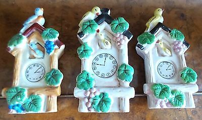 Three Vintage Ceramic Wall Pockets Painted Clocks With Birds Made In Japan