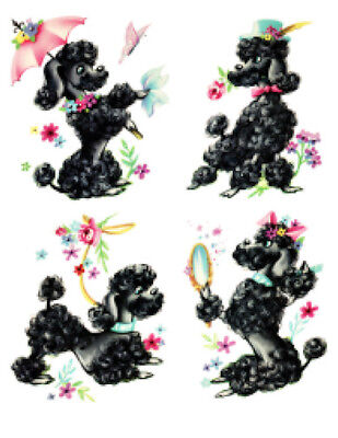 Vintage Image Retro Shabby French Black Poodles Dogs Waterslide Decals AN654