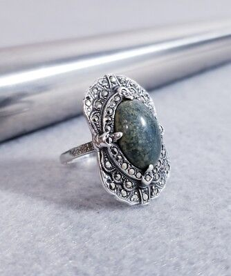 ATQ 925 Sterling Silver Art Deco Green Blue Sodalite Stone Marcasite Size 6 Ring