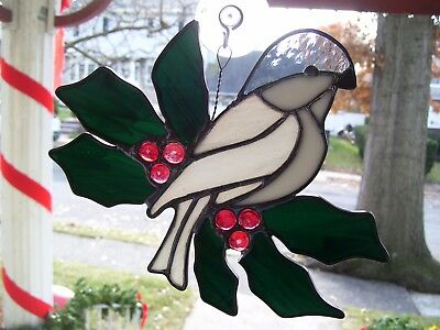 Stained Glass Chickadee & Holly  Sun-catcher (Real Glass)