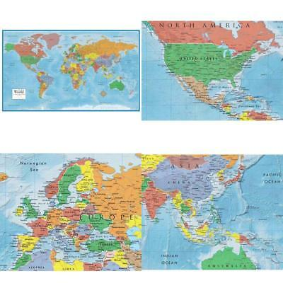 WORLD MAP CLASSIC Huge Large Laminated Wall Map Poster Home ...