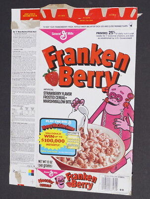 vintage 4.00General Mills FrankenBerry empty cereal box 1983