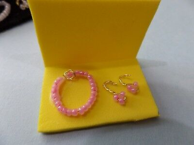 Pink Rose Quartz Jewelry Necklace and earrings    -dollhouse Miniatures 1:12