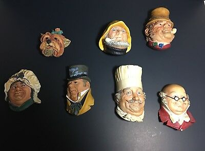 Bossons England Wall Hanging Chalkware Heads Lot Of 7 Vintage 1964-71