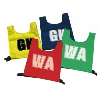 Netball Bibs  Junior - Set of 7 (Blue with White Positions)