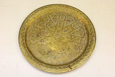 "VINTAGE BRASS Plate Tray ROUND 14"" heavy ornate decorated geometric Nice Old"