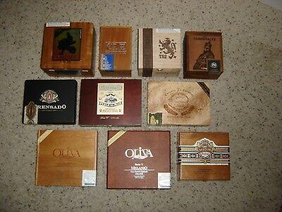 Lot Of 10 Premium Wood Cigar Boxes Mixed/Random