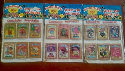 4 Sealed Packs 1985 GARBAGE PAIL KIDS / GPK Stick-On Pictures - Schizo Fran