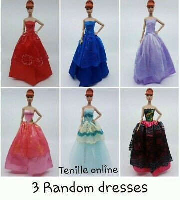 3 New Barbie beautiful clothes outfit princess wedding gown dress random