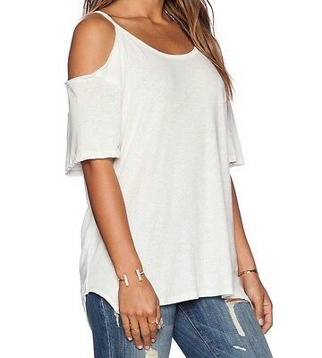 528086cff3c38 FREE PEOPLE WE THE FREE AFTER PARTY IVORY SHORT SLEEVE COLD SHOULDER TOP Sz  XS