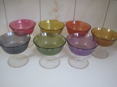 Vintage Mid Century Footed Plastic Sherbet Dessert Dishes 7 Retro Colors