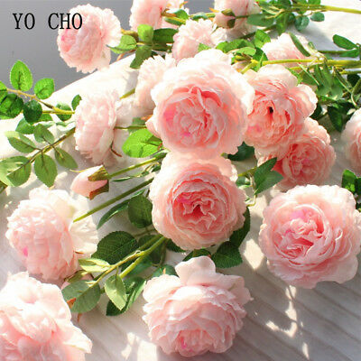 Fake Rose Artificial Silk Peony Pink Flowers Bridal Wedding Bouquet Home Decor