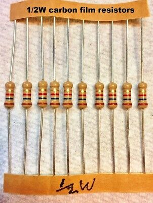 10 pcs -  carbon film 1/2 watt 5% resistors Many Values - You choose !!