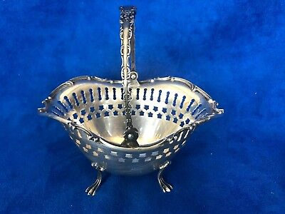 Antique International Sterling Silver Reticulated Footed Basket W Handle