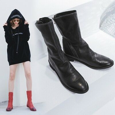 Womens Vogue Cow Leather Pointed Toe Zippers Flat Ankle Boots Shoes Plus Size
