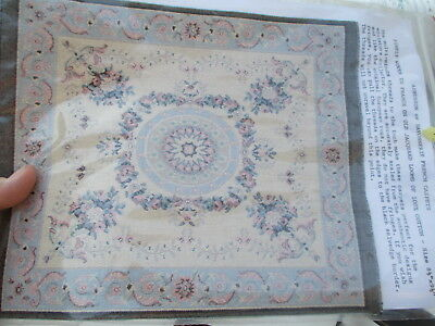Dollhouse Miniatures ~ Aubusson Of Savvoniere French Carpet w/ Blues & Flowers