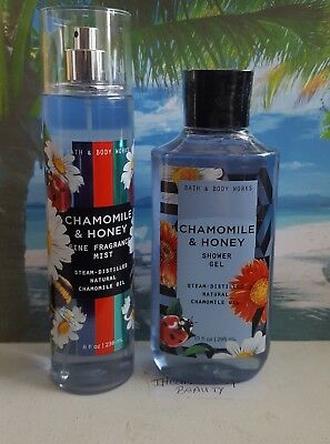 bath and body works chamomile & honey shower gel and fine fragrance mist
