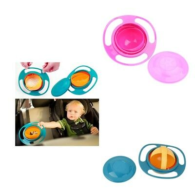 2xAvoid Food Spilling 360 Rotating Baby Non Spill Feeding Toddler Gyro Bowl