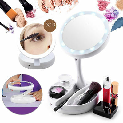 Led Illuminated 10x Magnification Travel Double Sided Makeup Mirror My Fold Away