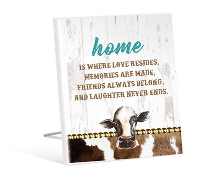 French Country Vintage Inspired Wall Art Wooden Home Love Resides Cow Sign NEW