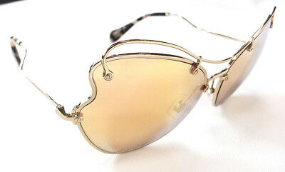 77198343478 MIU MIU Women s Sunglasses MU56RS Oversized Brow Bar Gold MADE IN ITALY -  New!