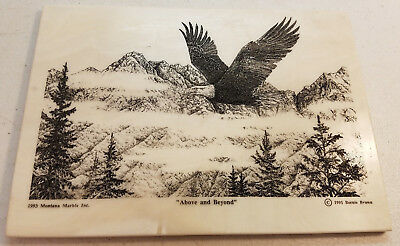 1993 Bernie Brown Flying Eagle Etched Montana Marble Art Decorative Plaque