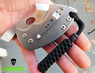 Paracord knife lanyard x 2- Black Out-fits zero tolerance,CRKT, spyderco & Kizer