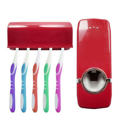 Automatic Lazy Toothpaste Dispenser+5 Toothbrush Holder Set Wall Mount Stand SPD
